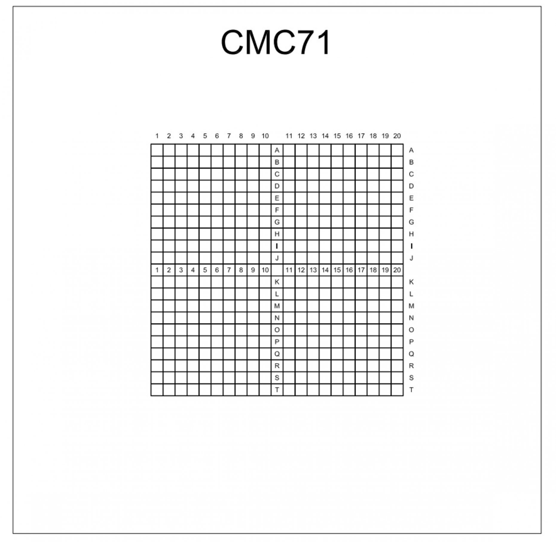 CMC71 Indexed Grid 0.5mm Pitch Squares Pattern