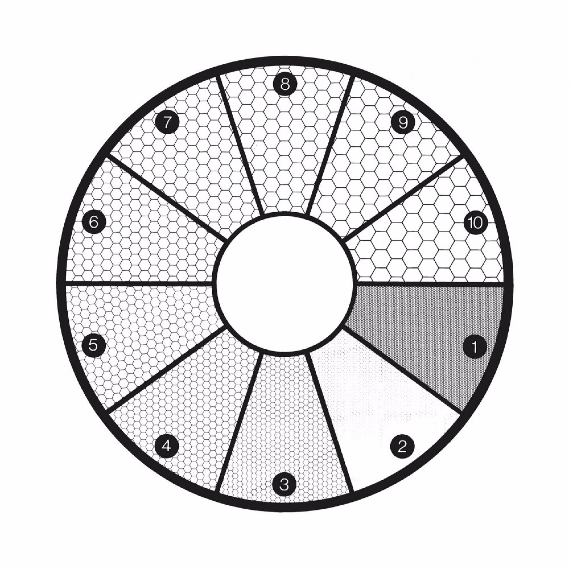 G45 ASTM E19-46 Grain Sizing Disc Pattern