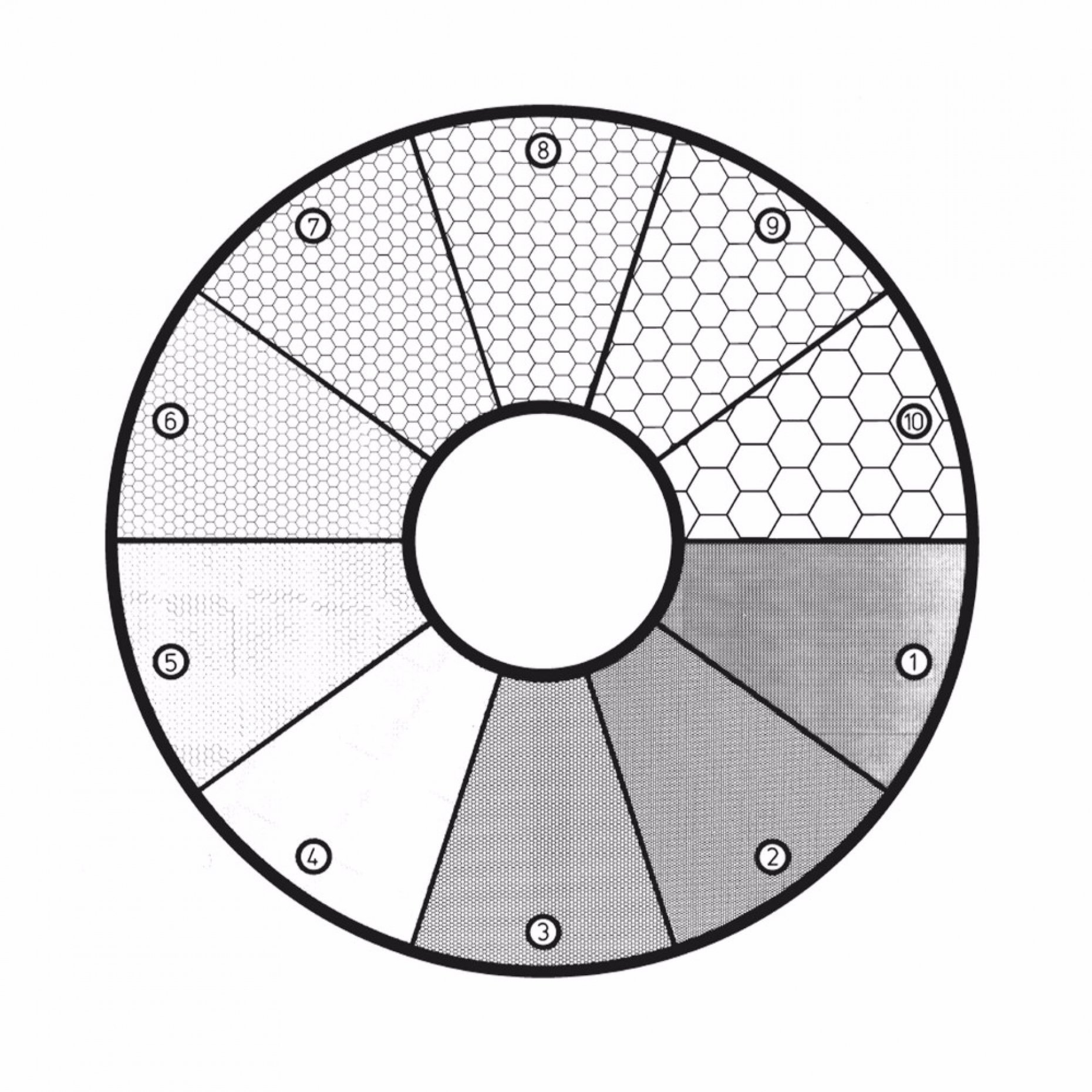 G46 ASTM E19-46 Grain Sizing Disc - Root 2 Pattern