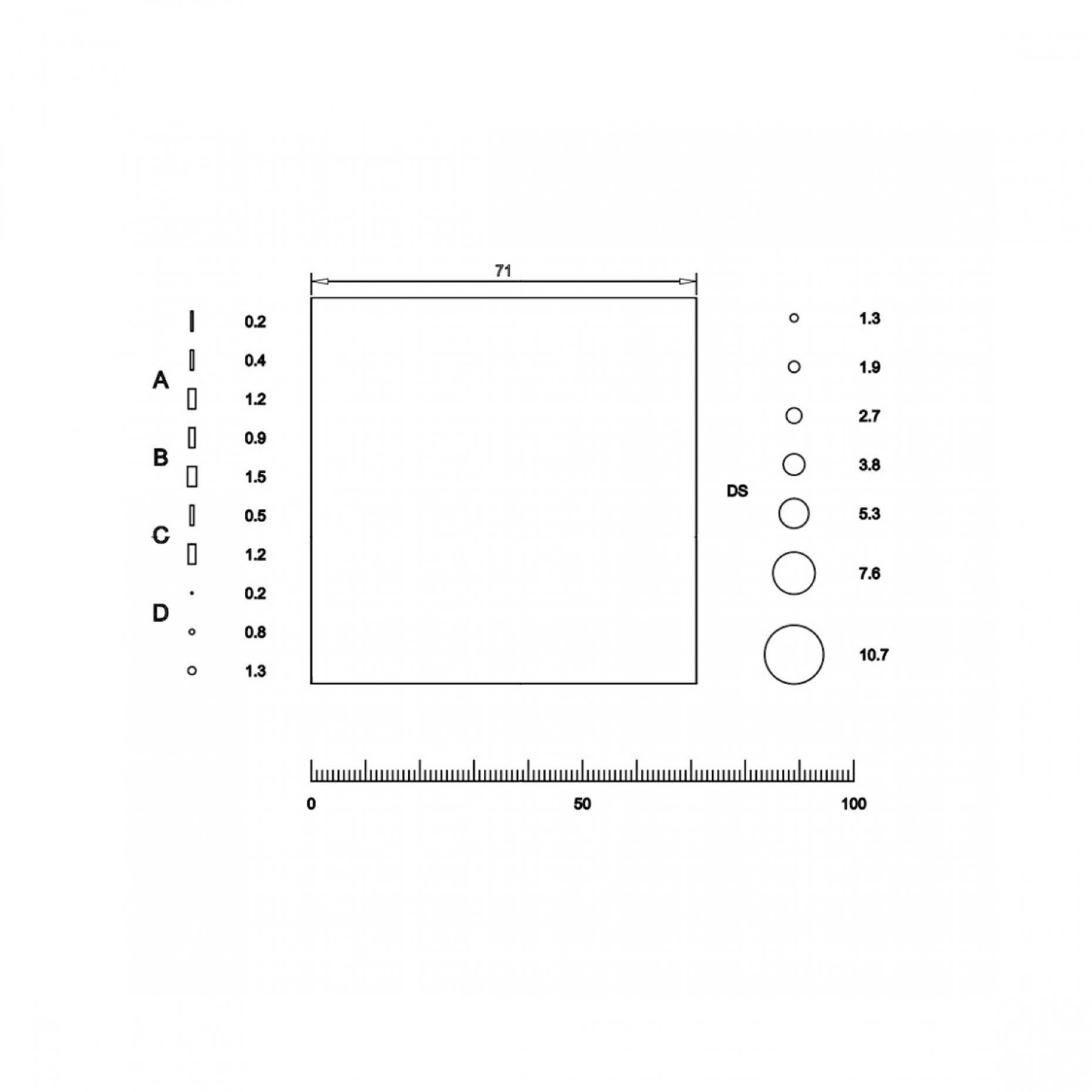 NG61 Grain Sizing Reticle to ISO4967 / JIS G0555 Pattern